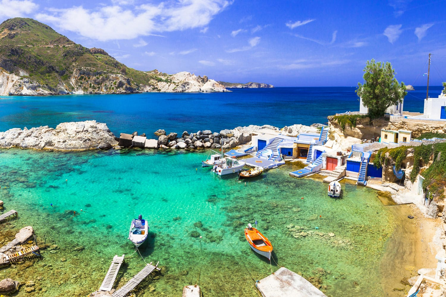 Milos - traditional village Mandrakia , beautiful islands of Greece