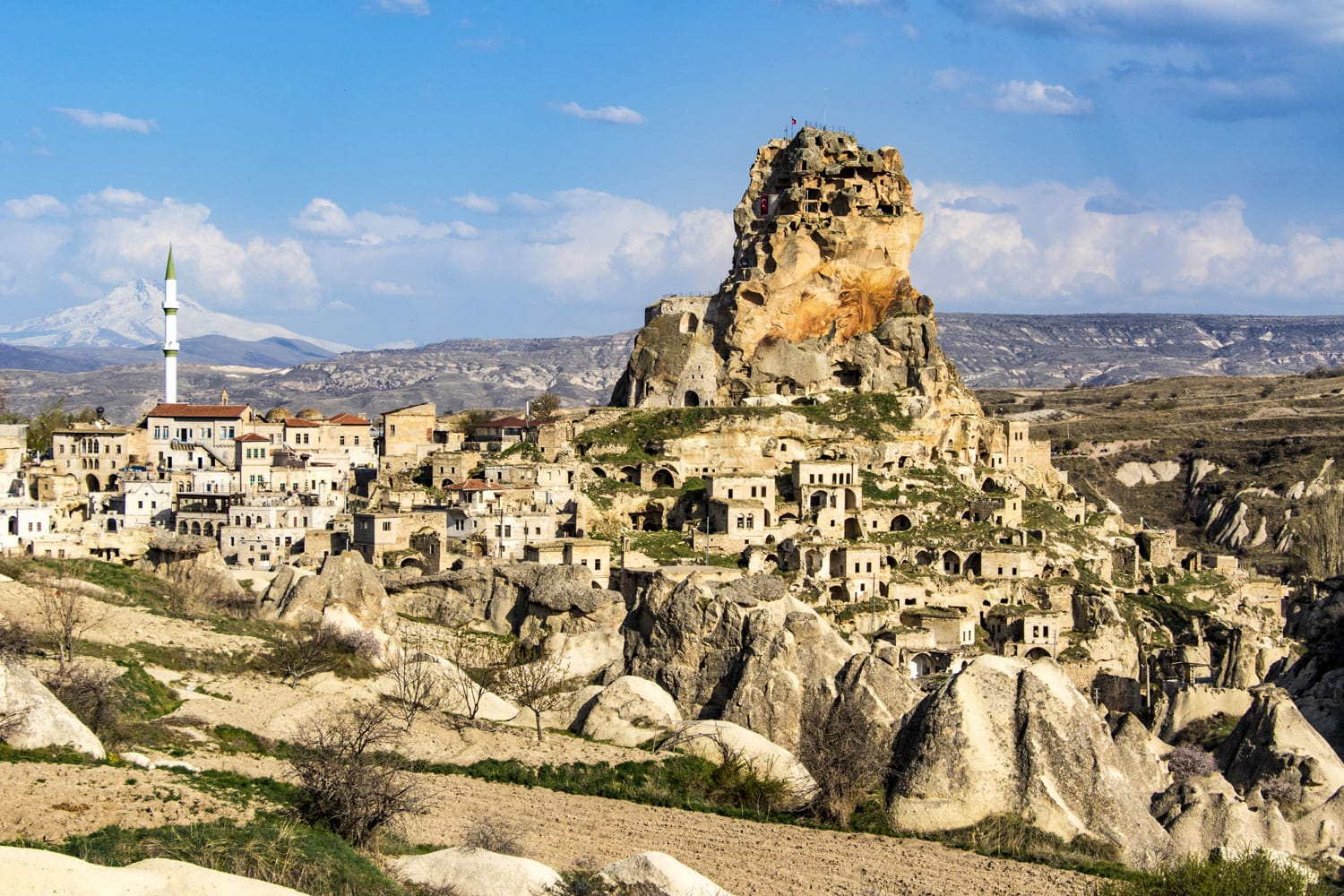 The ancient Ortahisar Castle in Cappadocia, in central Turkey is a major landmark