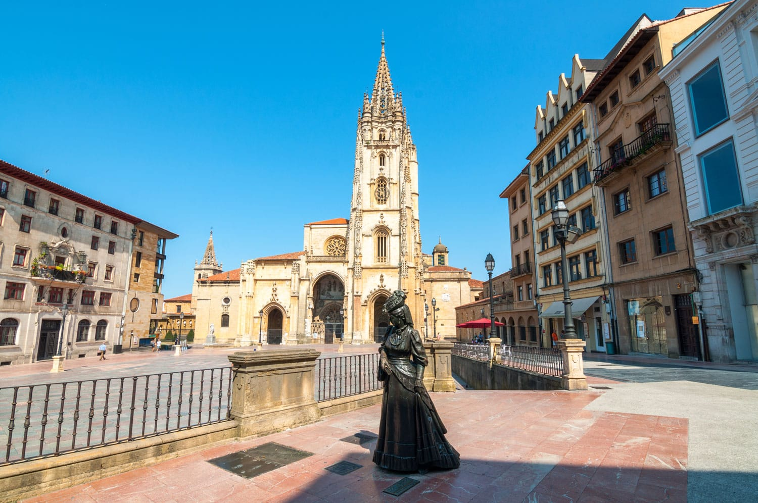 Holy Saviour Cathedral square in Oviedo Spain