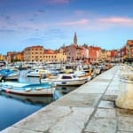 Stunning romantic old town of Rovinj with magical sunrise, Istrian Peninsula, Croatia.