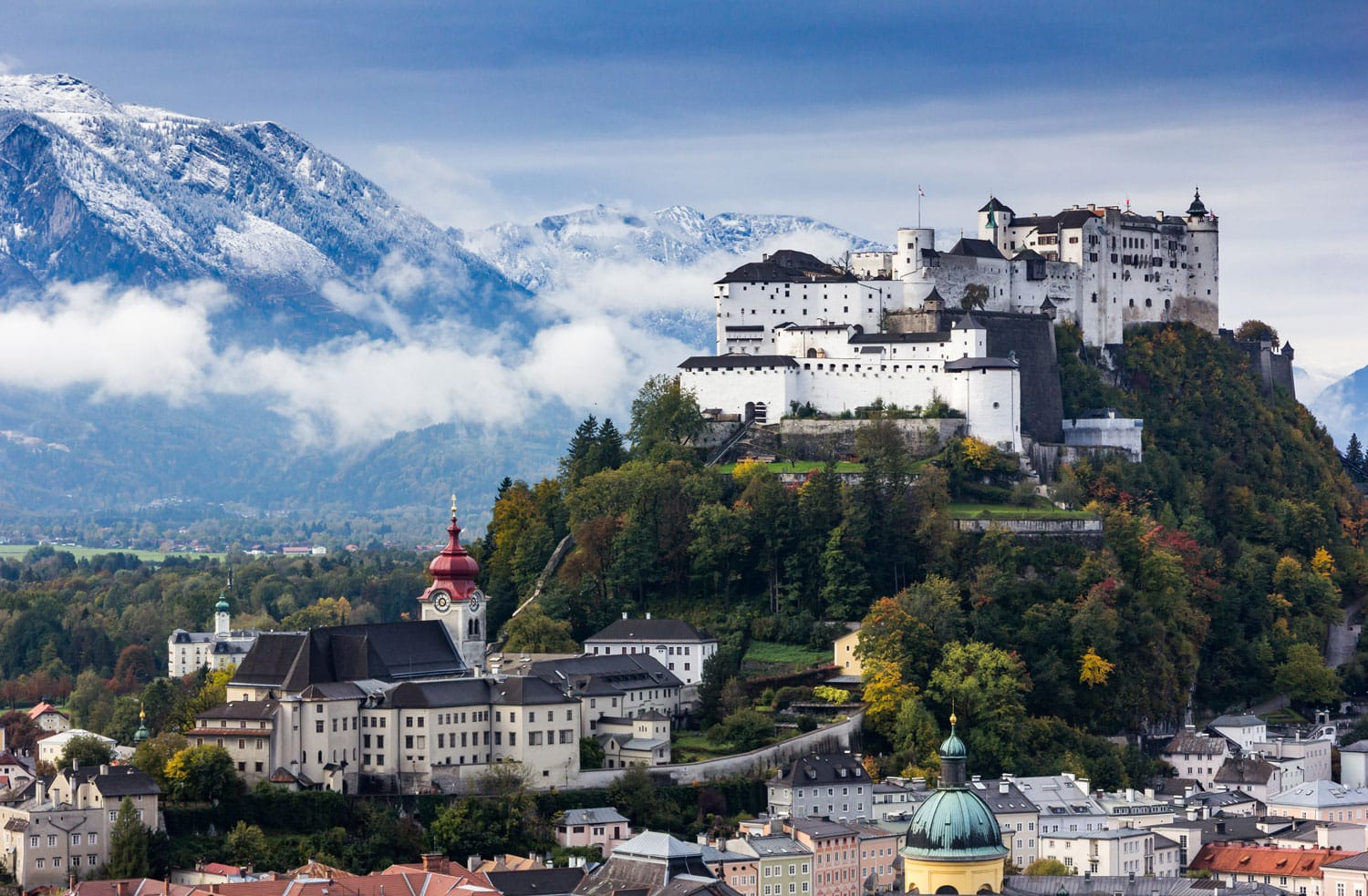 Beautiful view of Salzburg skyline with Festung Hohensalzburg and Salzach  river in summer 3c456cf8552