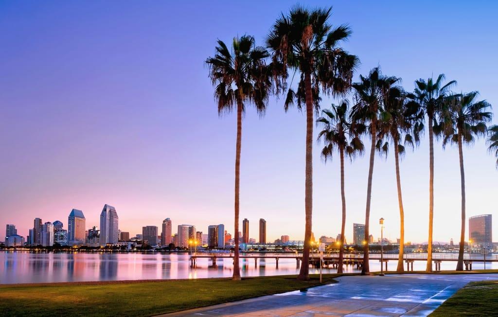 Colorful sunrise on Coronado Island, San Diego, California