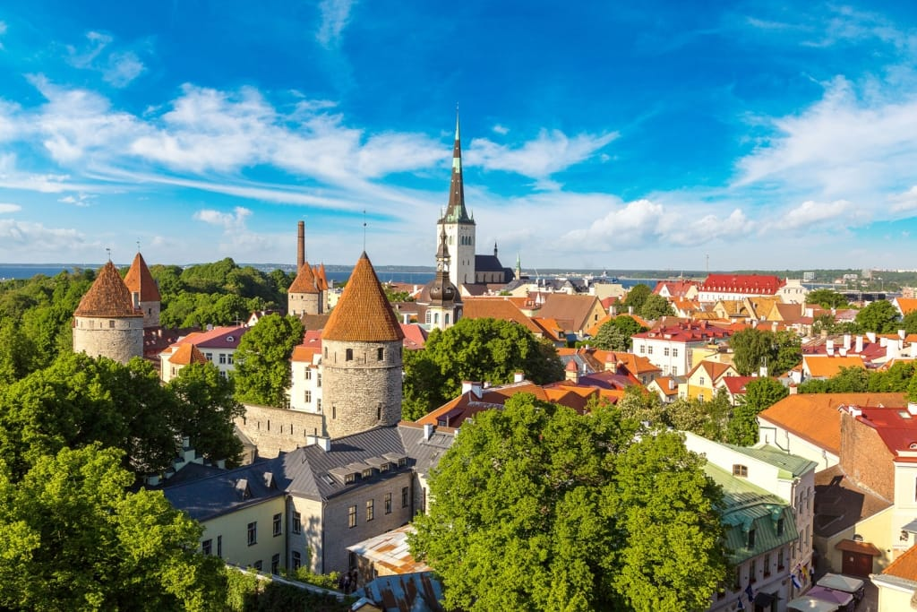 Aerial View of Tallinn Old Town in a beautiful summer day, Estonia