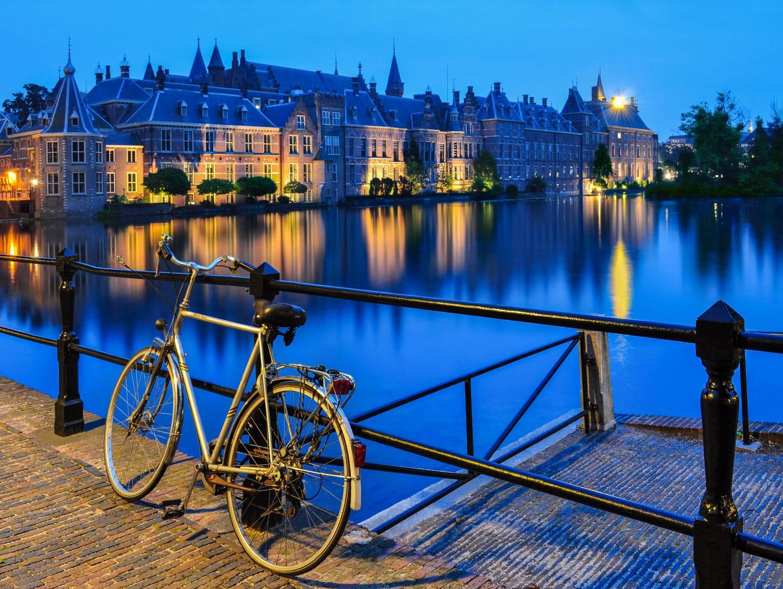 Bike on a canal in The Hague, close to Binnenhof