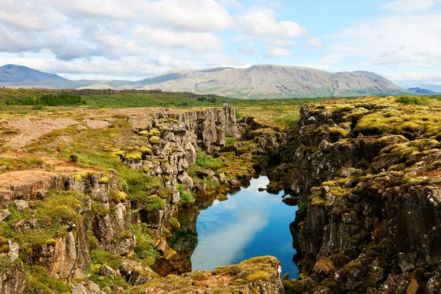 Thingvellir National Park famous area in Iceland right on the spot where the atlantic tectonic plates meet, Iceland
