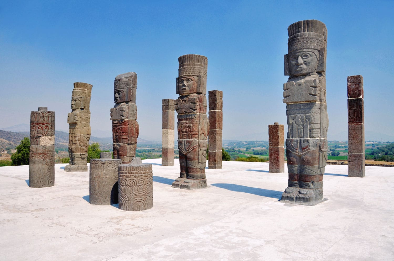 Pyramid of Quetzalcoatl (Morning Star) with Toltec Warriors columns in ceremonial site, Tula Grande, Mexico