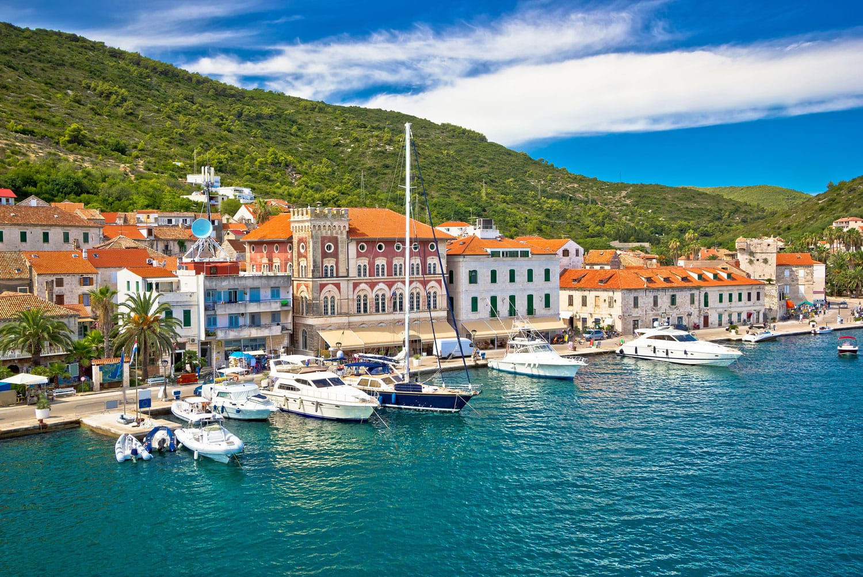 Town of Vis old mediterranean architecture, Dalmatia, Croatia