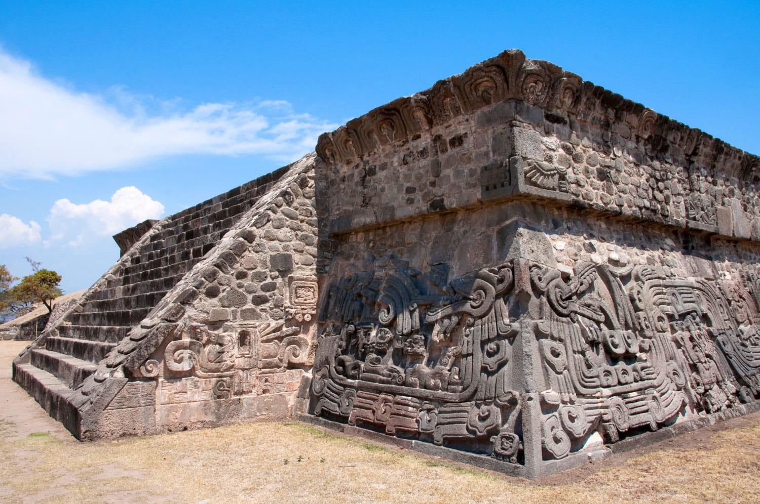 Temple of the Feathered Serpent in Xochicalco in Mexico