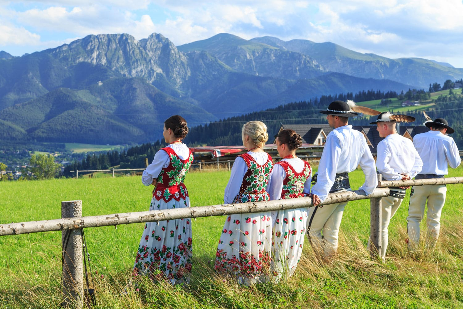 Local people in traditional clothes in Zakopane