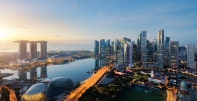Aerial view of Singapore's business district in Singapore, Asia.