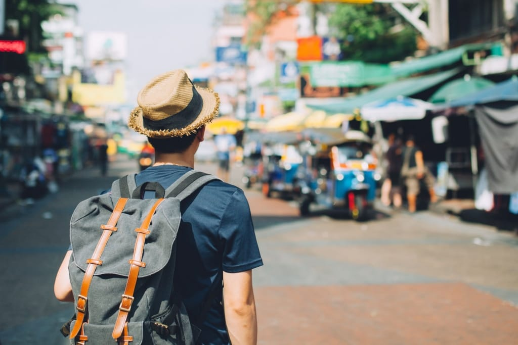 backpacker in Khaosan Road, Thailand