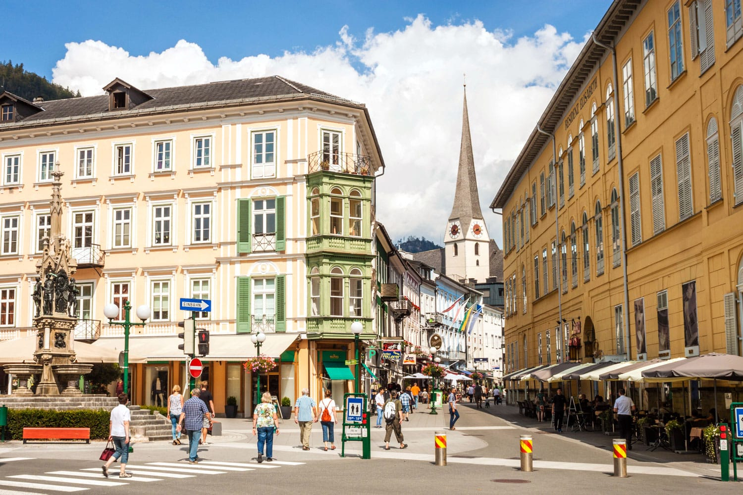 Schroepferplatz and Pfarrgasse, center of the resort town Bad Ischl, place for sightseeing, shopping and relaxing.
