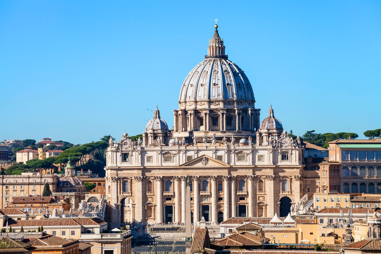 View of the St Peters Basilica in Vatican City from the Castle of Holy Angel