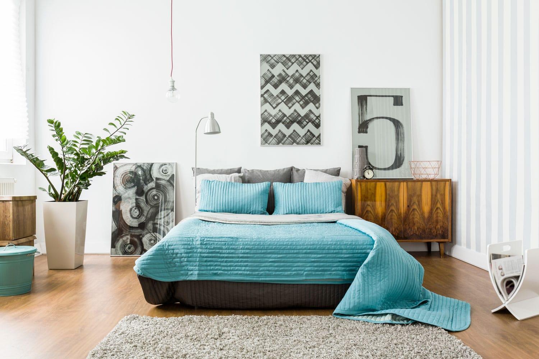 Interior of cozy bedroom in modern design