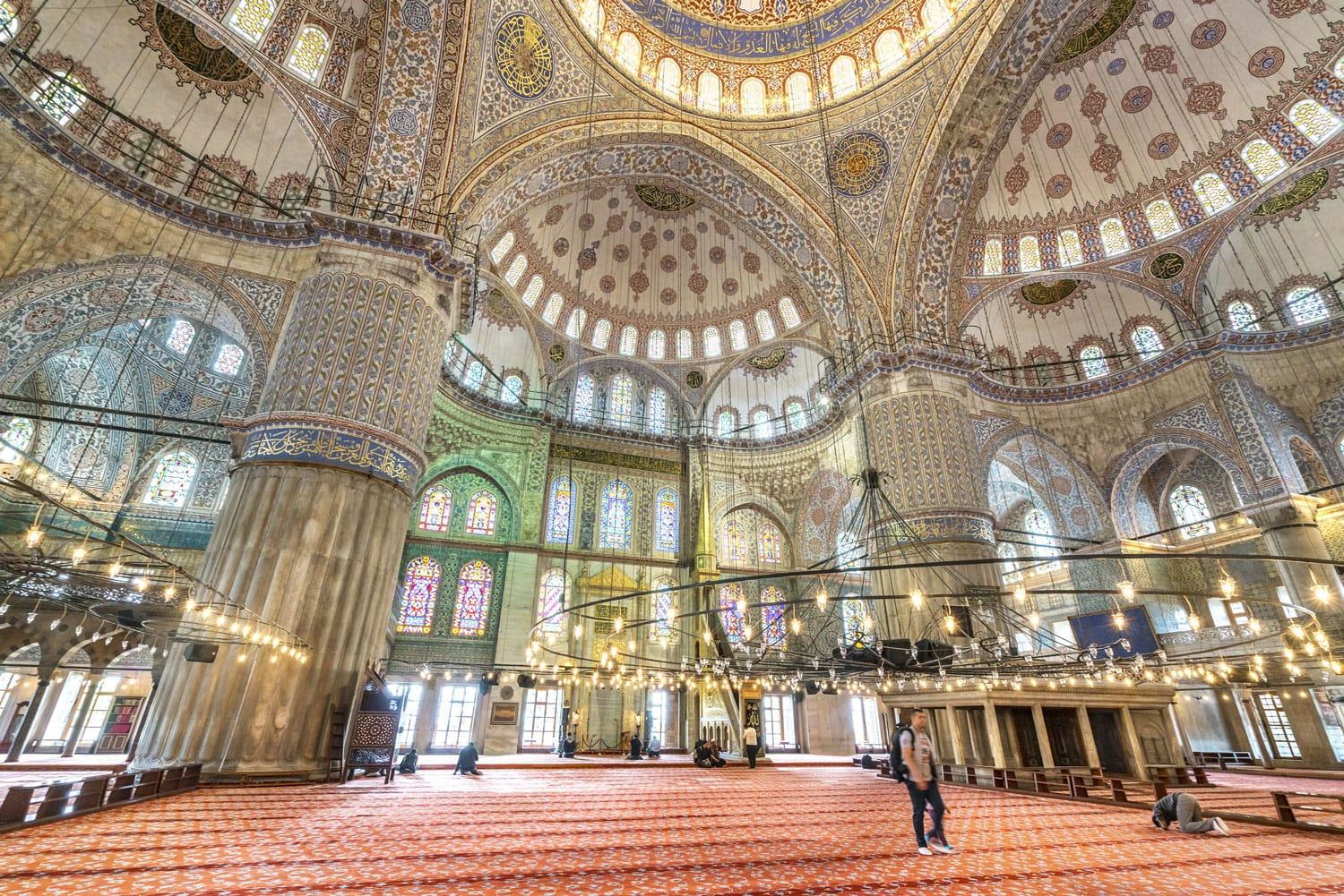 Interior view of the Sultanahmet Mosque (Blue Mosque) in Istanbul, Turkey