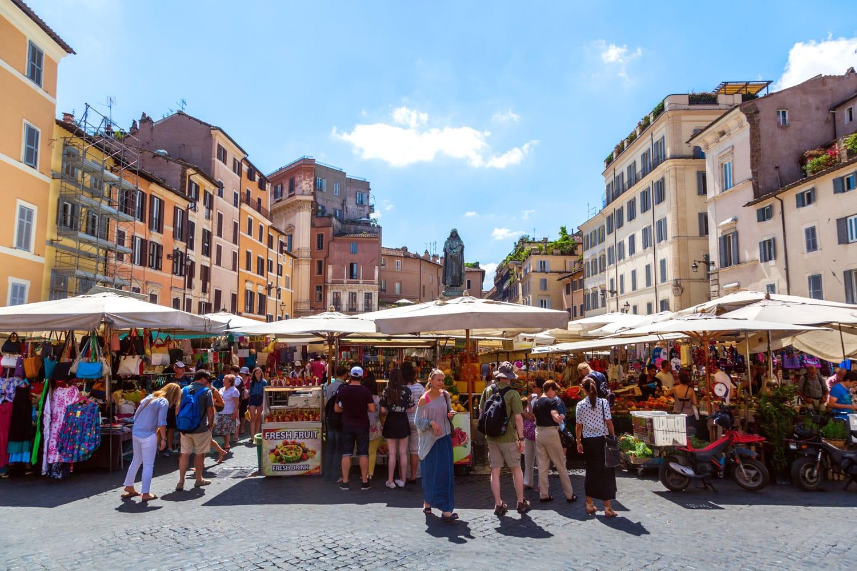 Campo De Fiori Market in Rome, Italy