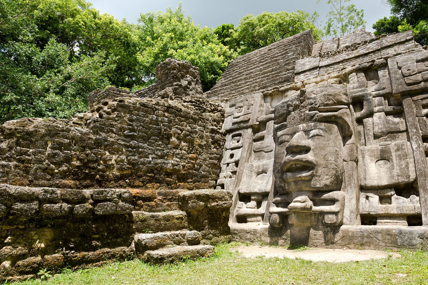 Ancient Maya Mask Temple located in the jungle of Belize.