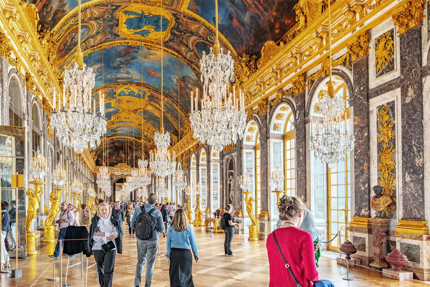 Hall of Mirrors (Galerie des Glaces )- is the palace's most celebrated room. Chateau de Versailles in Paris, France