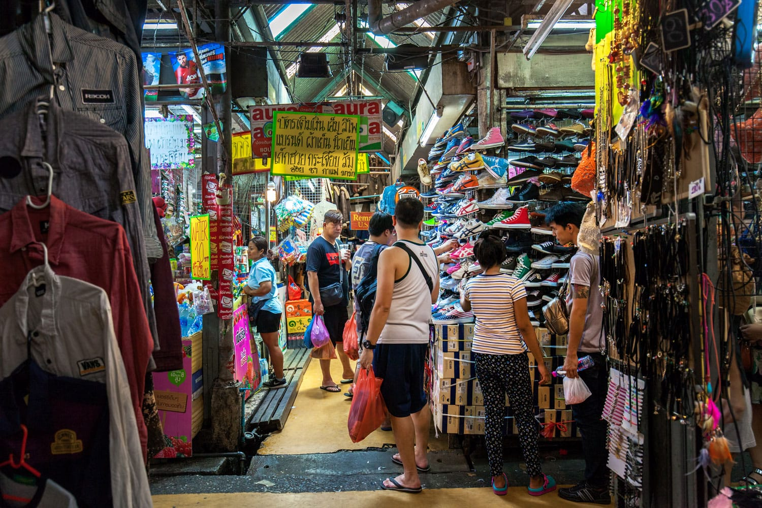 Tourist are shopping at Chatuchak Market in Bangkok, Thailand.