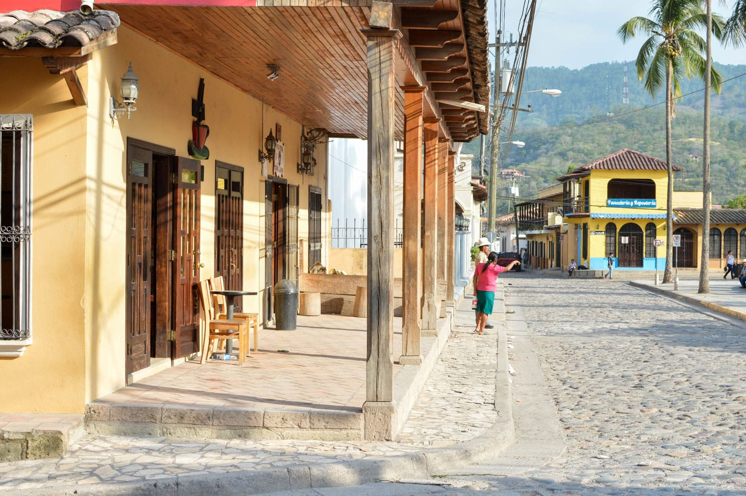 The view of the main plaza of a small colonial town of Copan Ruinas in Honduras, Central America