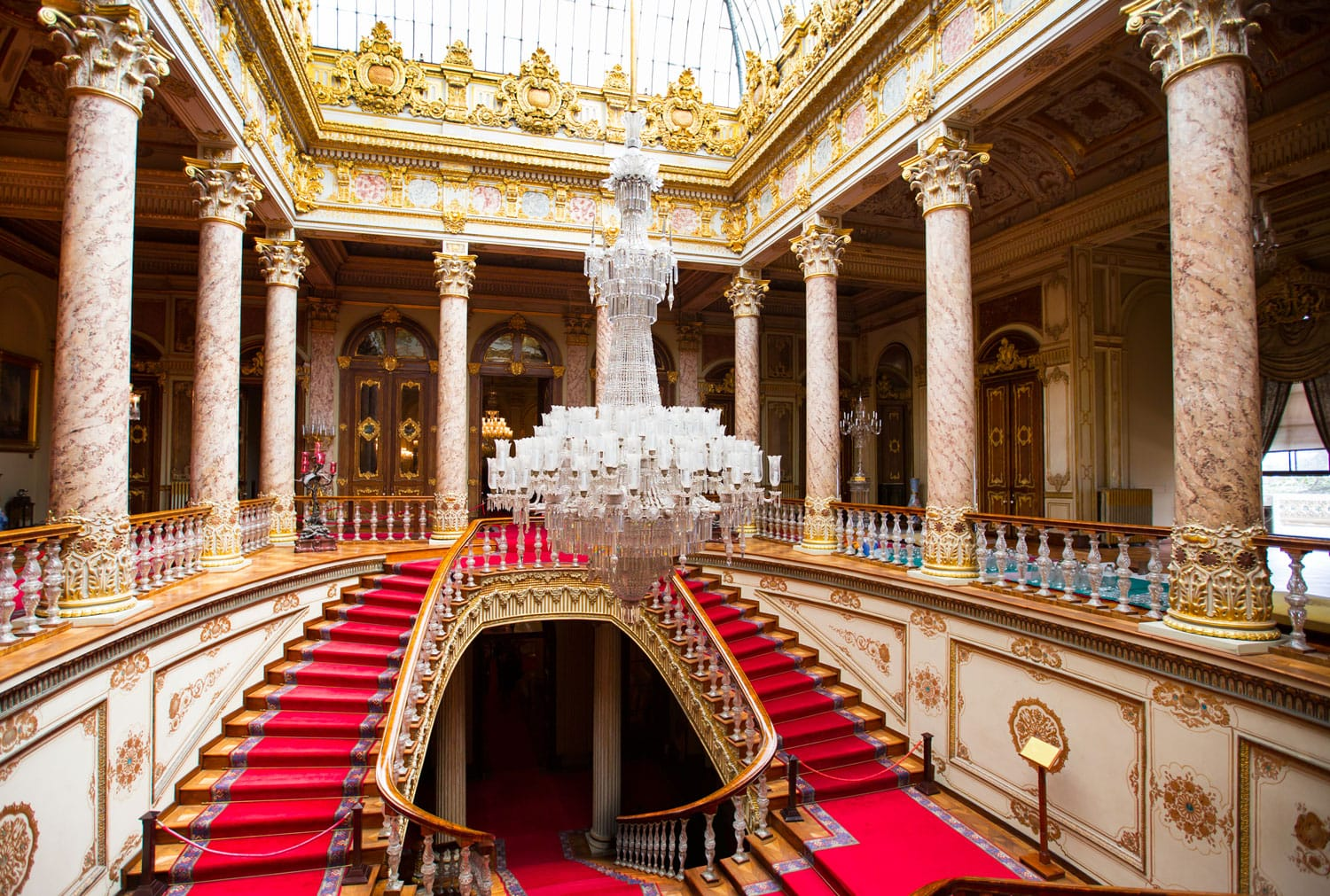 Dolmabahce Palace interior in Istanbul Turkey.