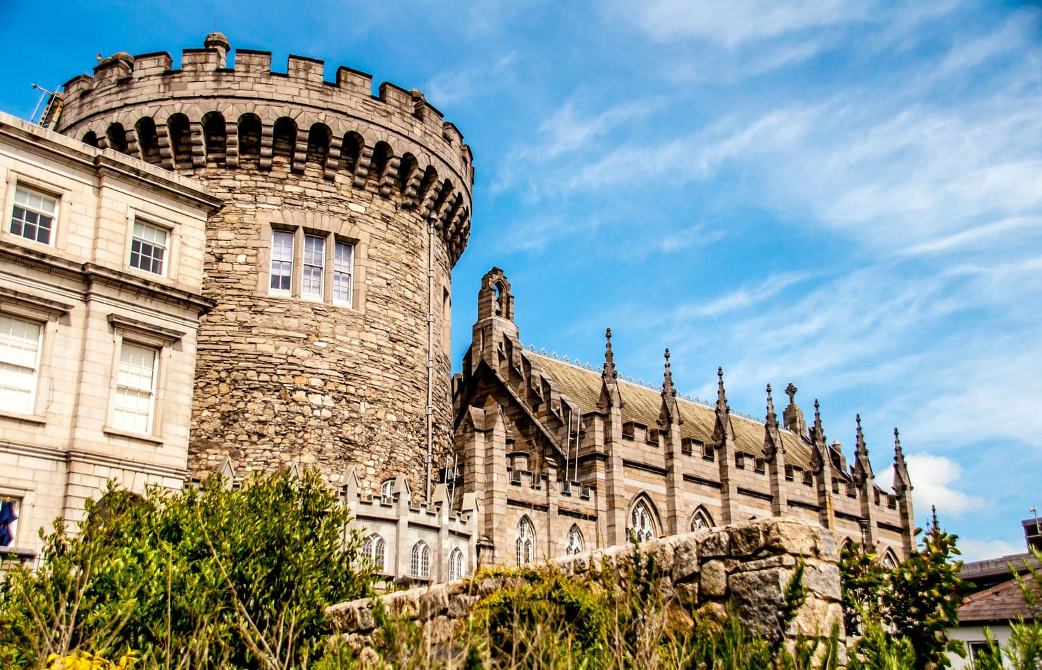 Panoramic view of a strong tower of the Dublin castle, in Dublin, Ireland