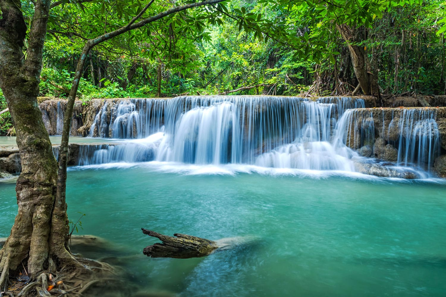 Beautiful Erawan waterfall located Kanchanaburi Province, Thailand