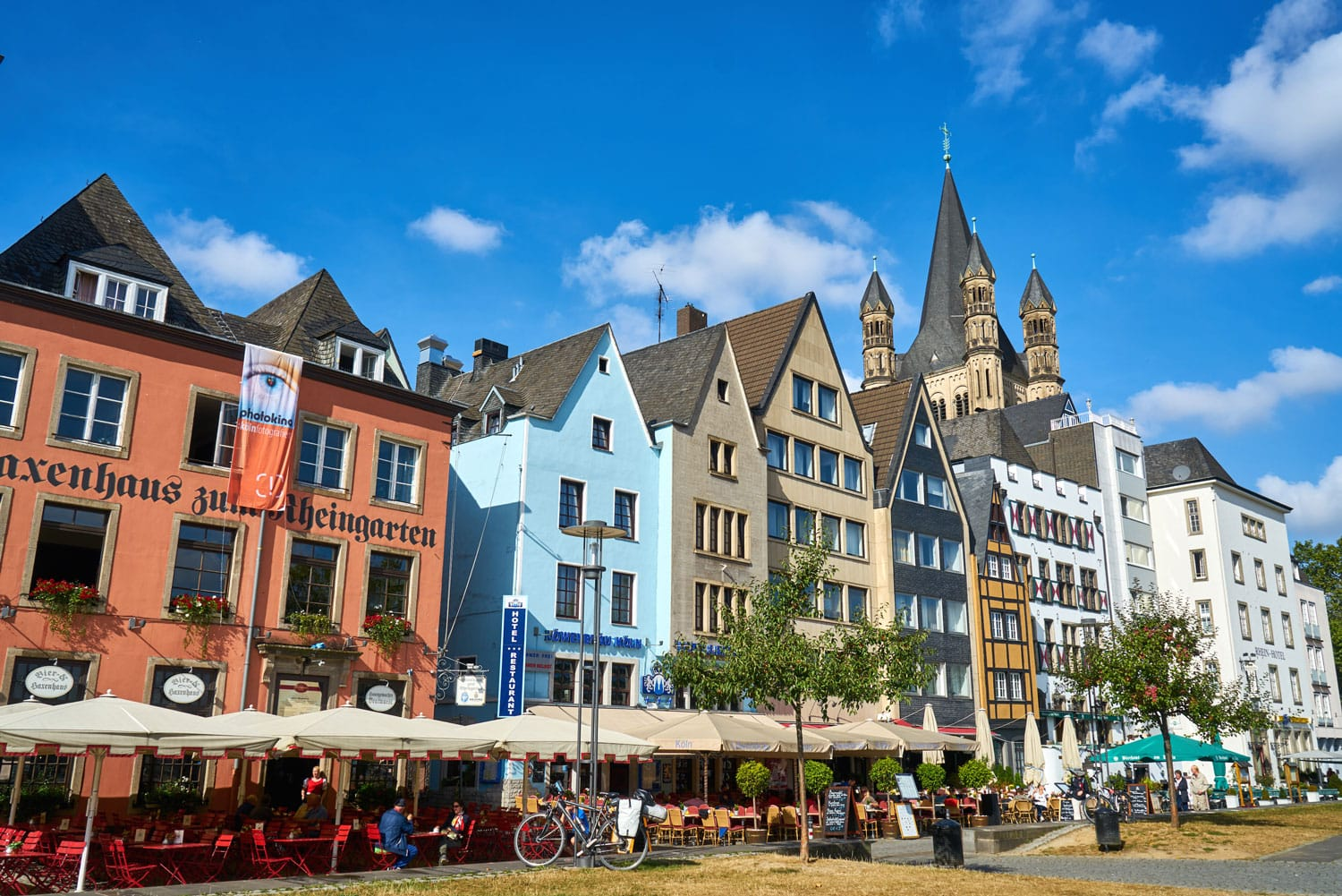 Colorful houses, bars and restaurants in the old city Cologne, Germany