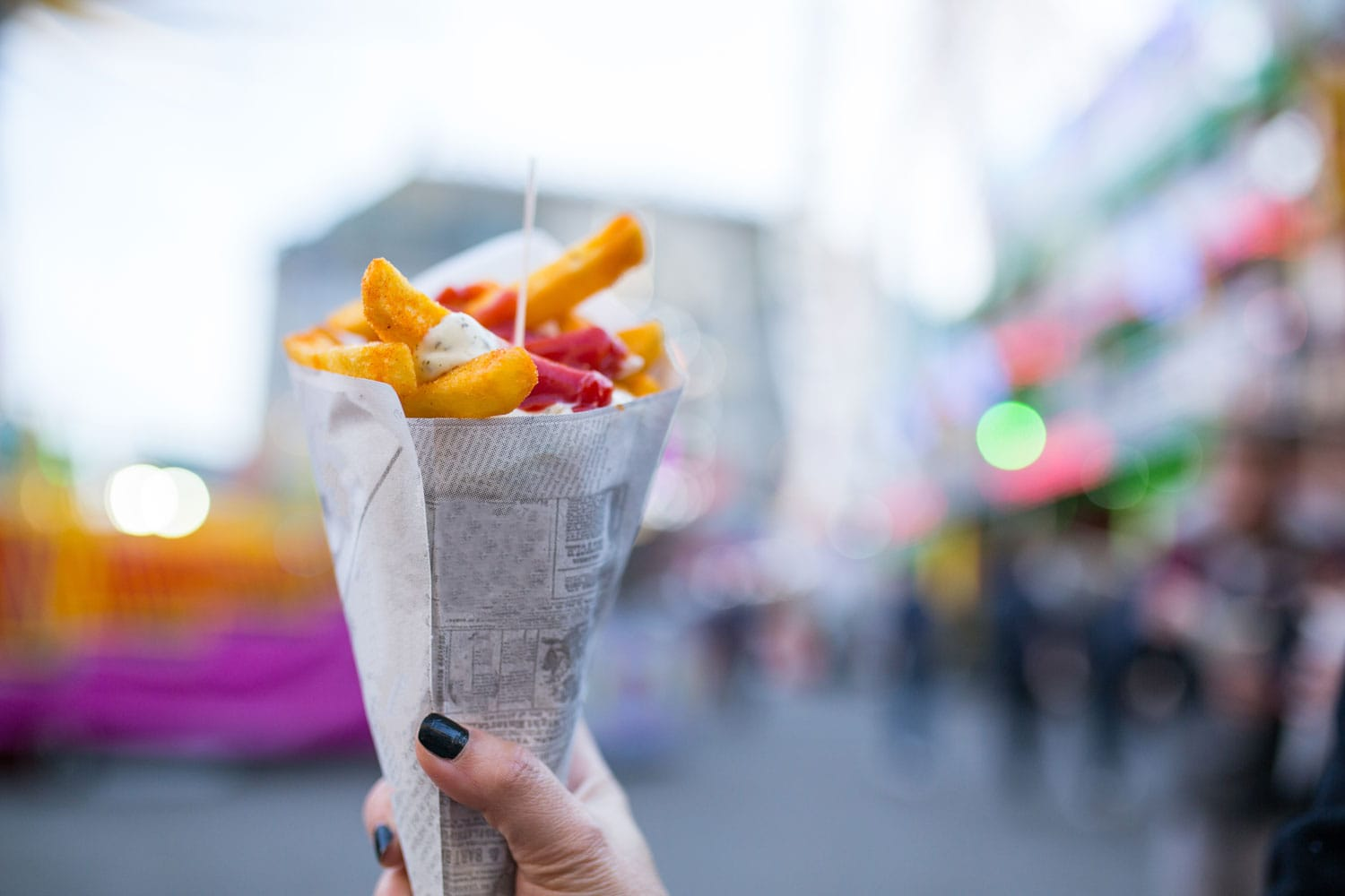 French fries food desert for eating on the street in Amsterdam, Netherland