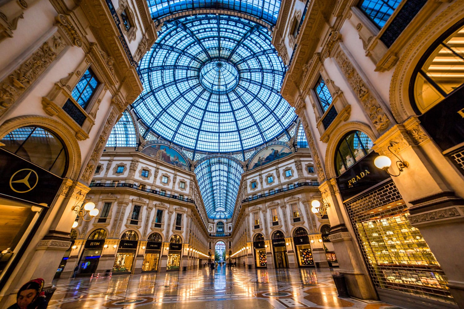 Luxury Stores in Galleria Vittorio Emanuele II - shopping mall in Milan, Italy