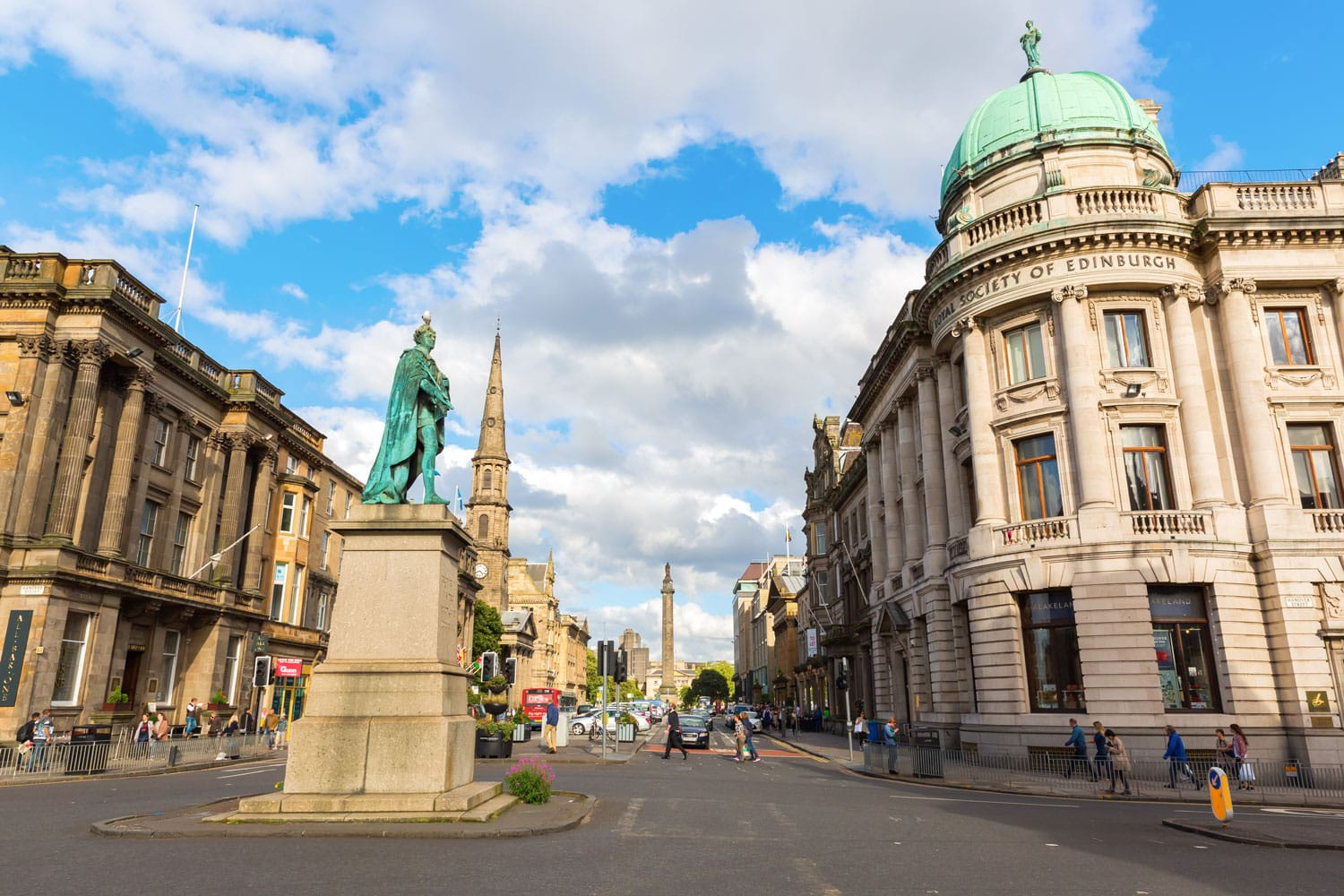 George Street with William Pitt statue in Edinburgh, Scotland
