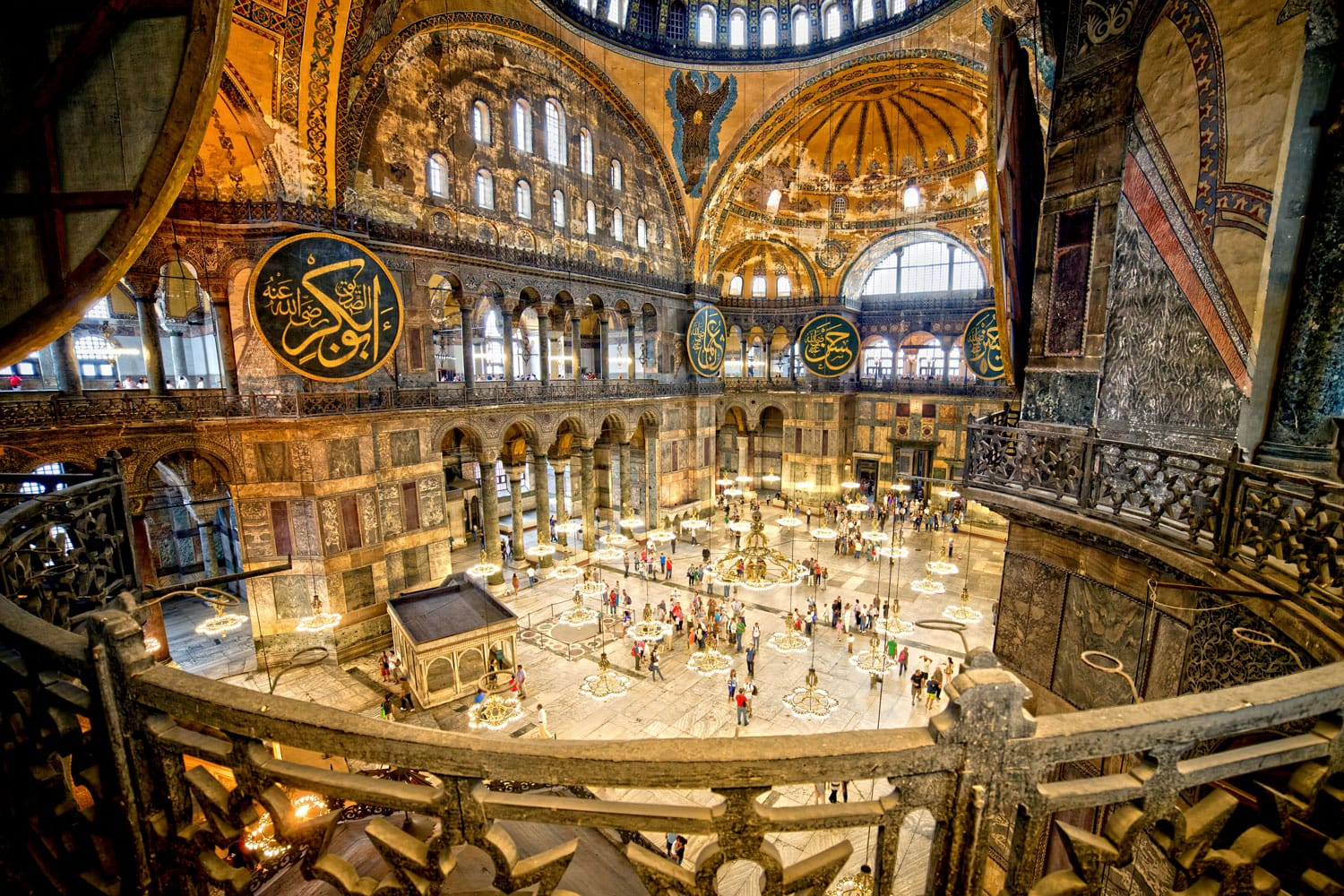 Interior view of the Hagia Sophia in Istanbul, Turkey