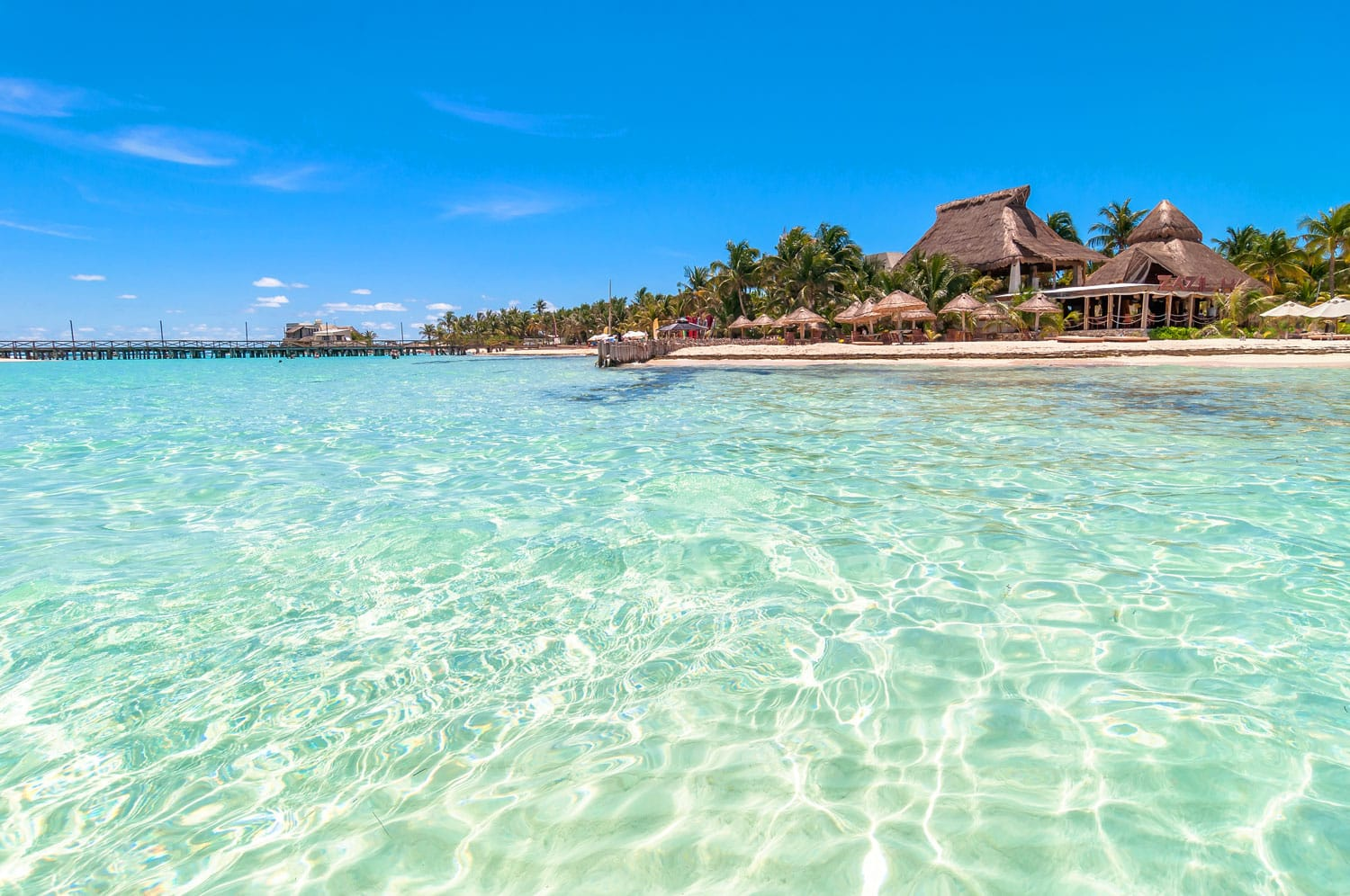 Tropical sea and coastline on famous Playa del Norte beach in Isla Mujeres, Mexico