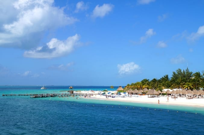 View of Isla Mujeres, Mexico from the water.