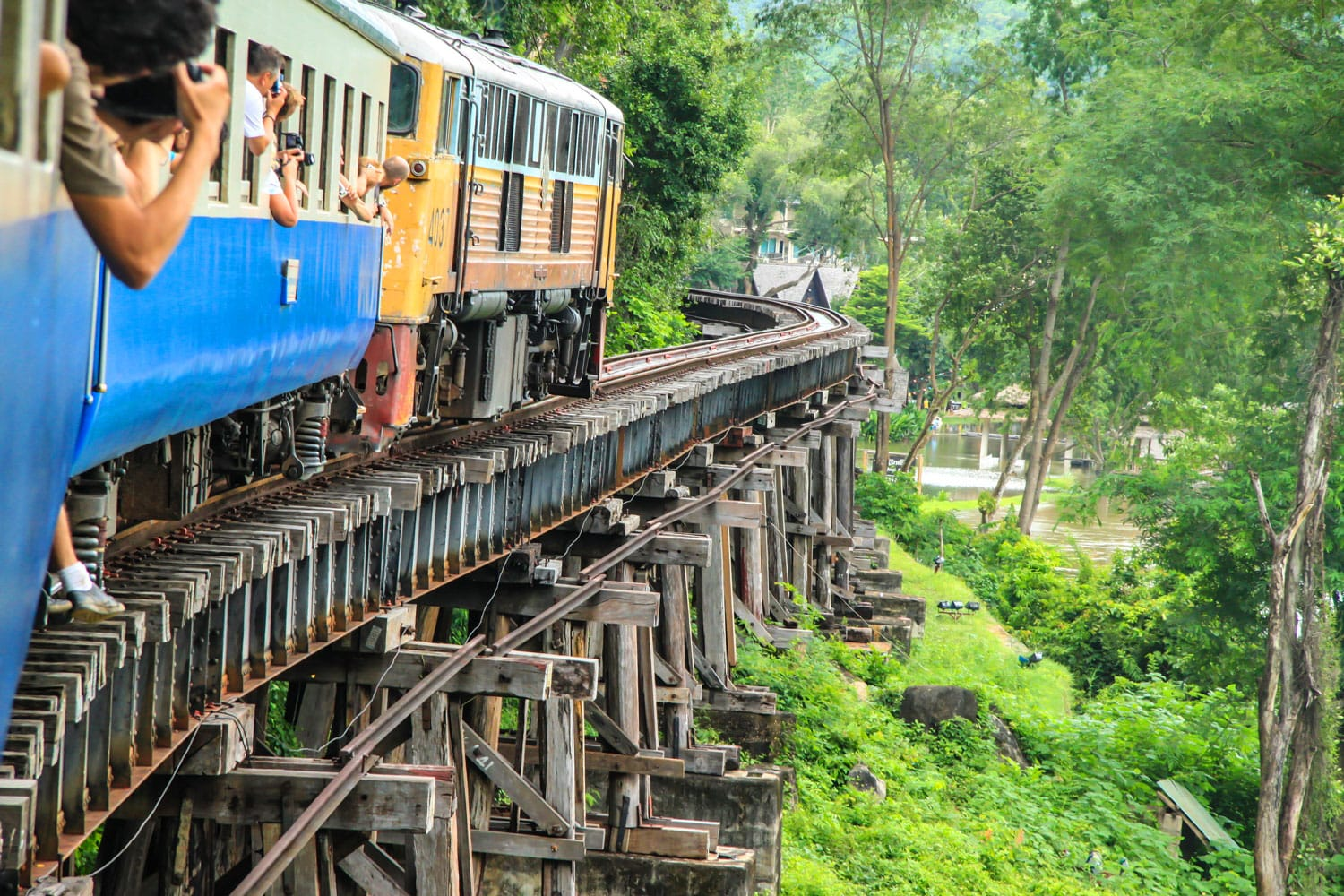 Thai Train on River Kwai Bridge of Kanchanaburi, Thailand