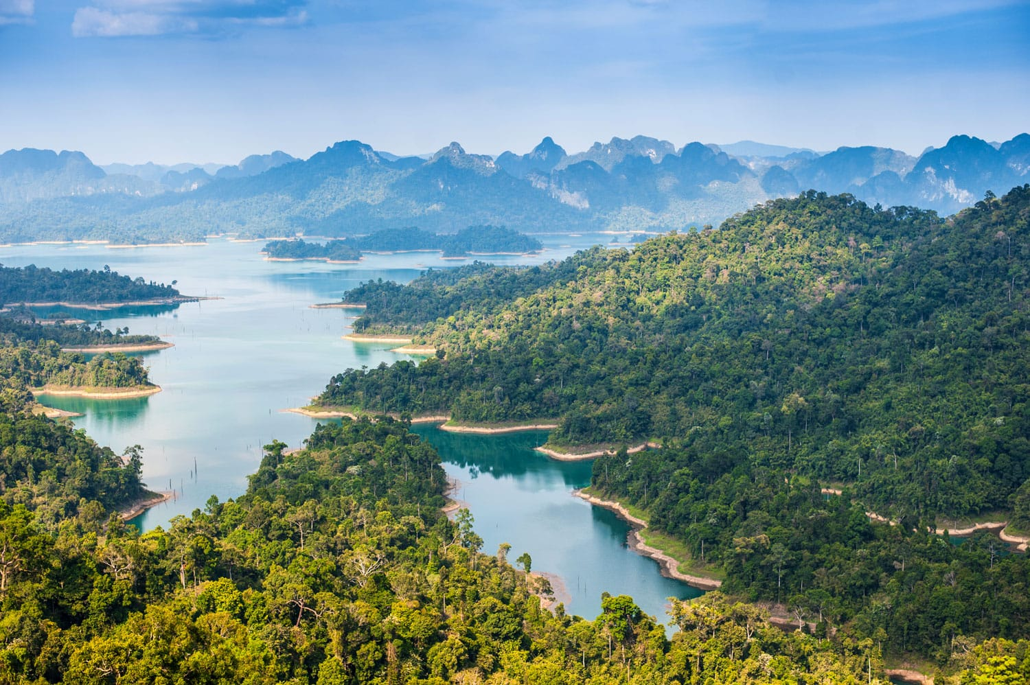 Birdeye view of Ratchaprapha dam Khao sok national park at suratthani,Thailand