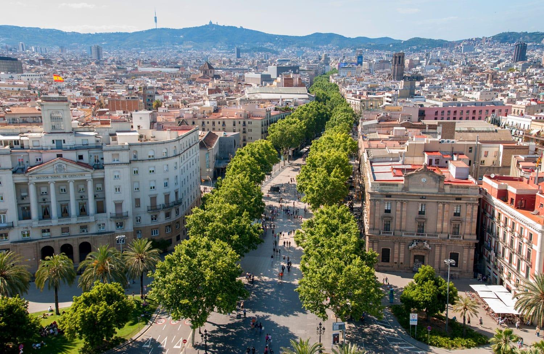 Top view on Barcelona street - La Rambla