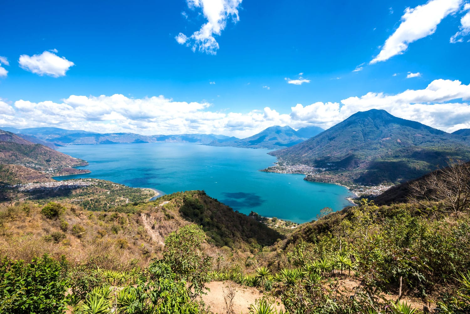 Aerial view of Lake Atitlan in Guatemala