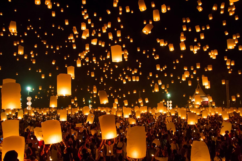 Lantern festival in Tudongkasatarn, Chiangmai, Thailand
