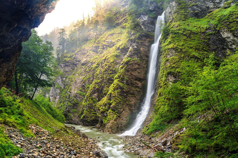 Spectacular upper waterfall on Liechtensteinklamm gorge in Austria,Europe