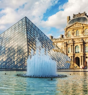 The Louvre Pyramid in Paris, France.