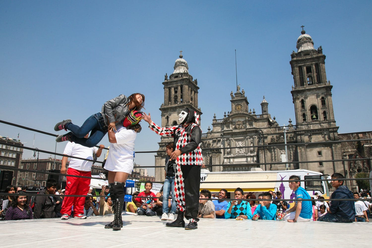 lucha libre on a Zocalo in Mexico City, Mexico