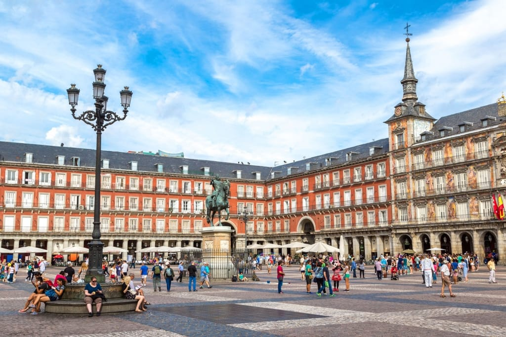 Statue of Philip III at Mayor plaza in Madrid in a beautiful summer day on in Madrid, Spain