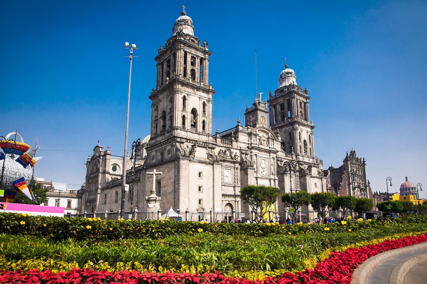 Exterior Metropolitan Cathedral in Mexico City, Latin America.