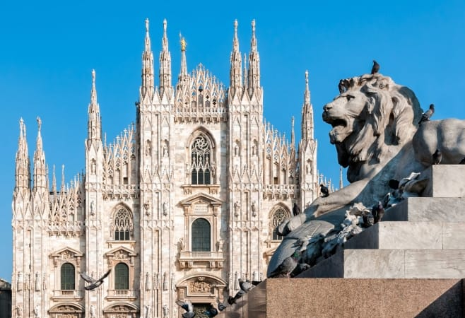 Milan Cathedral with lion statue, Milan,Italy