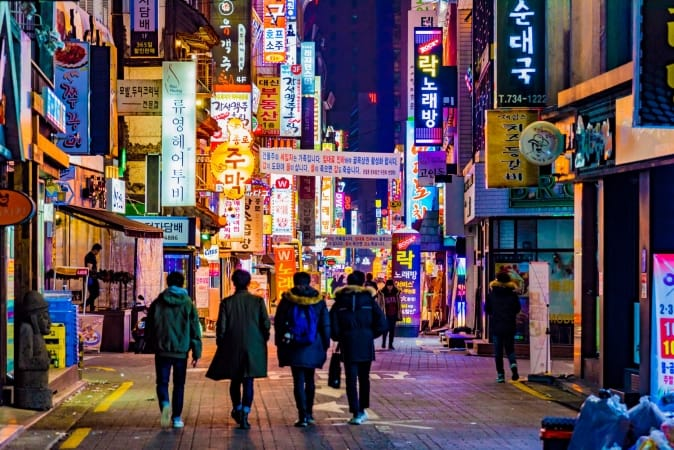 olorful billboards on the street of Seoul, South Korea at night