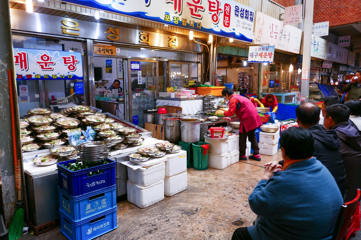 Locals and tourists at Noryangjin Fisheries Wholesale Market in South Korea