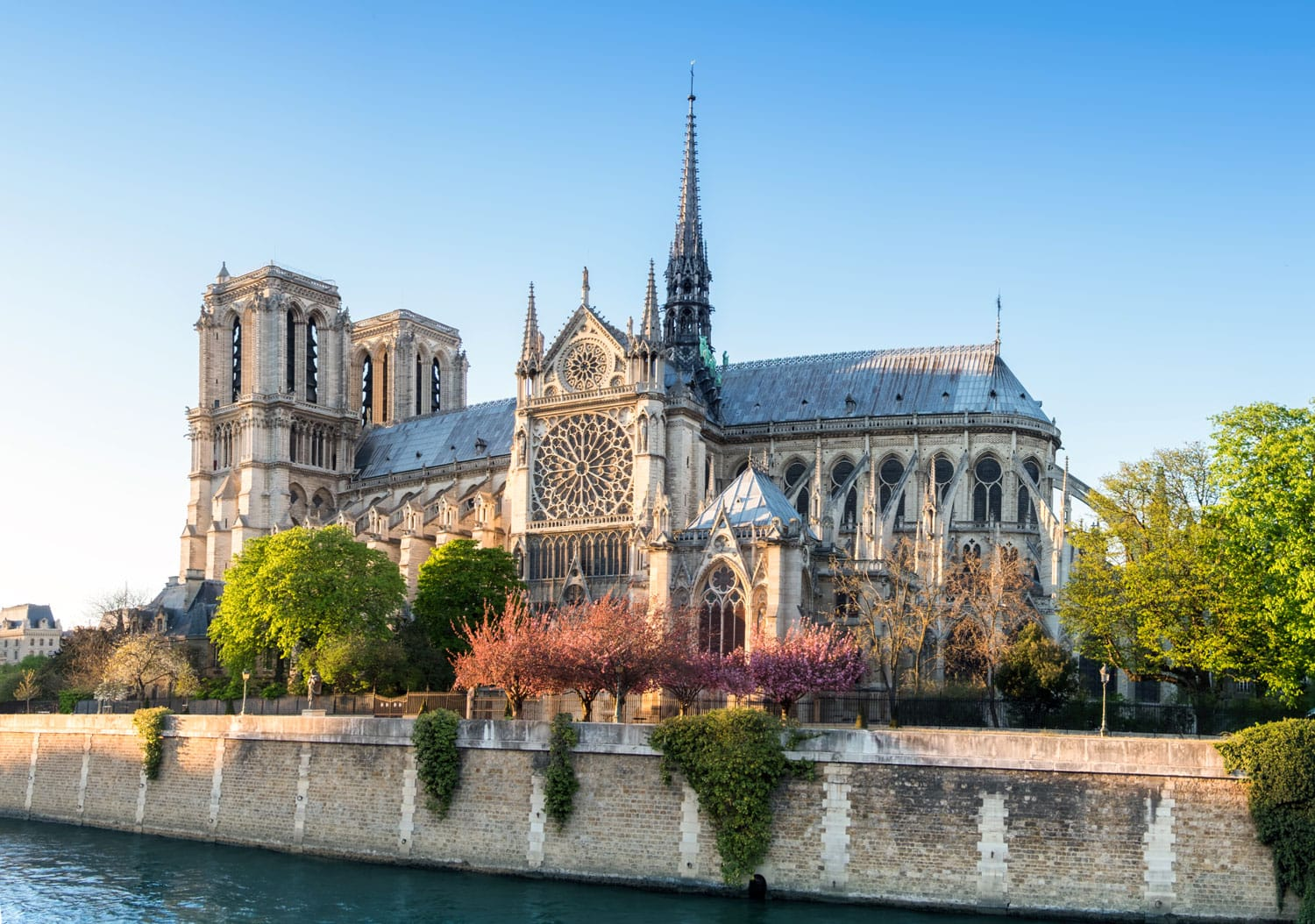 Notre Dame Cathedral in Paris on a bright afternoon in Spring