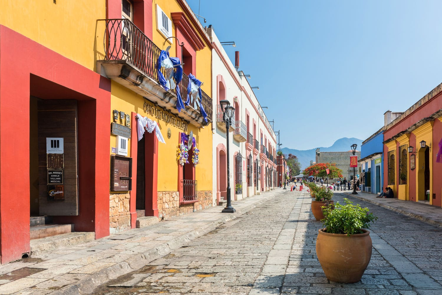 Colorful buildings on the cobblestone streets of Oaxaca, Mexico