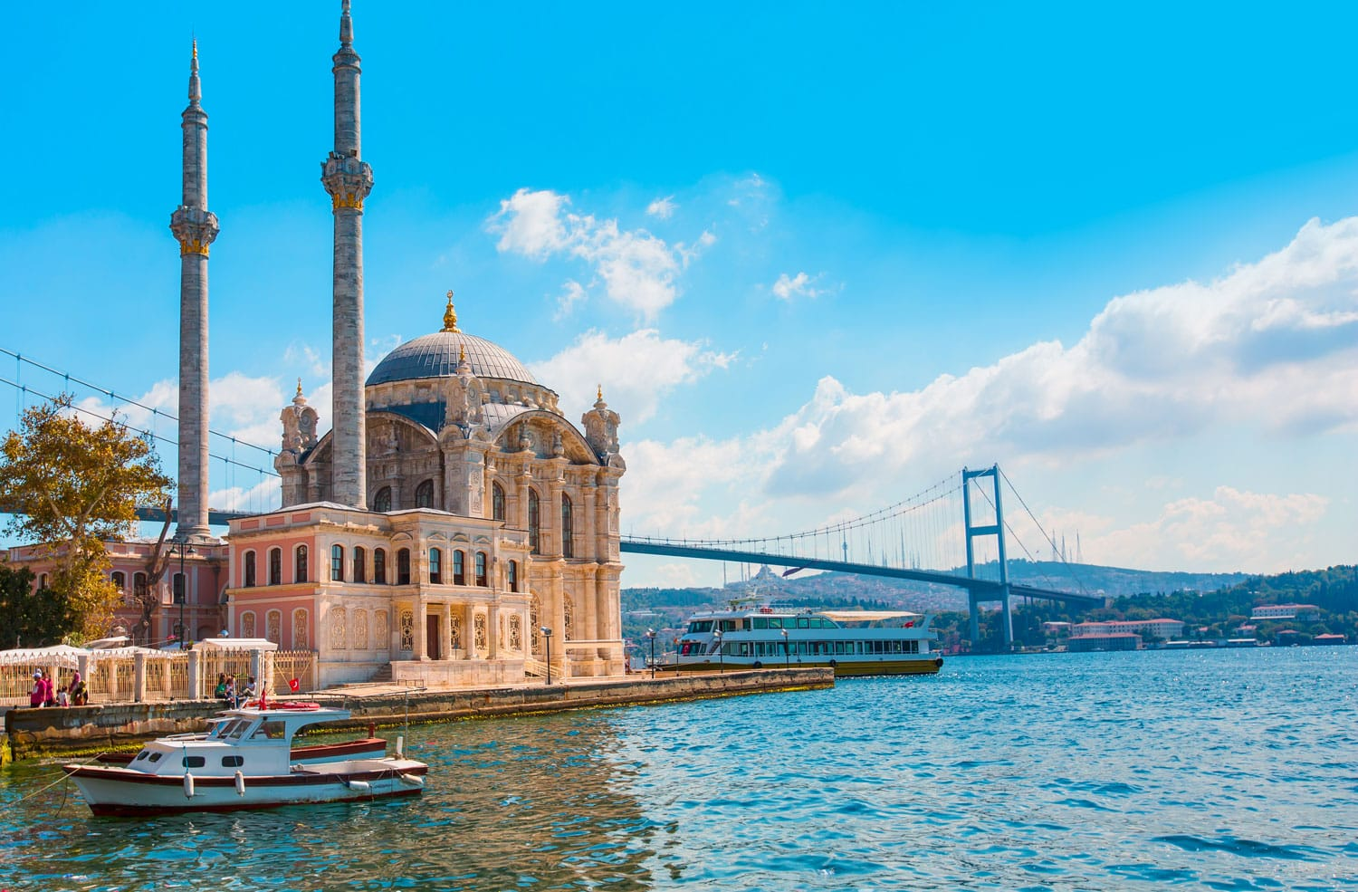 Ortakoy mosque and Bosphorus bridge, Istanbul, Turkey